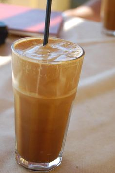 Greek Frappe - 3tsp nescafe 2tbsp water 2 tsp sugar frothed 4 cubes ice then add milk and water to top. Fave drink in Greece!!