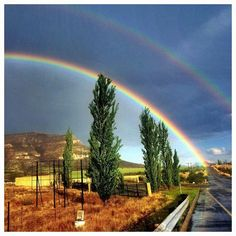Rainbow at the edge of Clarens Town, Free State South Africa. Free State, South Africa, Landscapes, Country Roads, Rainbow, River, Adventure, Mountains, Places