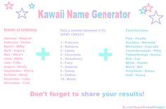 Anime Kawaii Name Generator I got Nerdy Chocolate Dream Anime Funnies Girl Name Generator, Kawaii Names, Anime Horoscope, Attack On Titan, Scenario Game, Birthday Scenario, Cute Nicknames, Dream Anime, Name Games