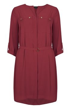 Primark - Red Chiffon Collarless Shirt Dress