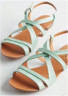 mint strappy flat sandals