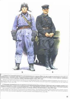"""ARMATA ROSSA - 5-Conductor de camión cisterna de la 2 ª División de tanques del Ejército Rojo. Él usa una variedad de """"mono"""" y un casco de tanquista, en este caso concreto, los rangos son cosidos al cuello del """"mono"""", pero esta práctica es muy poco frecuente, especialmente después del comienzo de la guerra.   6- El Teniente está usando calzones de equitación y una chaqueta de doble pechera. Él usa también una gorra gris que fue abolida en 1941."""