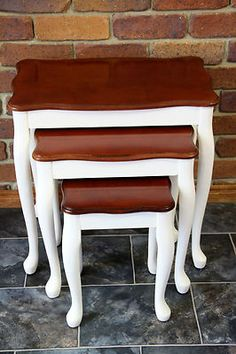 FRENCH PROVINCIAL SHABBY CHIC SET OF 3 NESTING COFFEE TABLES, Antique white base