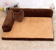 Rainflower Top Grade Warm Dog Bed Cotton Soft Pet Sofa ** Click on the image for additional details.