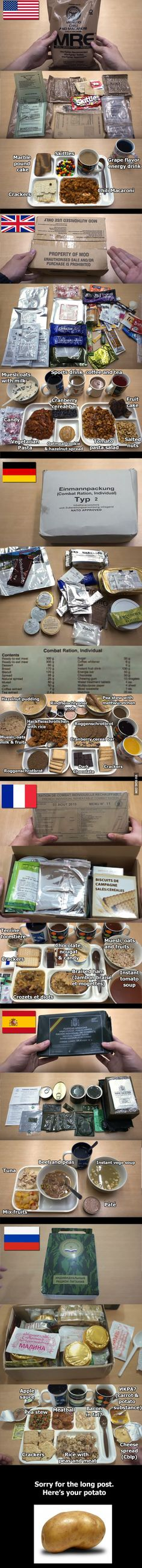Military field rations from 6 nations