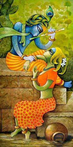 BansiDhar,Murali Manohar, Lord Krishna Called by many names Explore his various activities with  Ram Chandra Polake Ganesha Painting, Buddha Painting, Madhubani Painting, Mural Painting, Mural Art, Acrylic Paintings, Indian Folk Art, Indian Artist, Zantangle Art