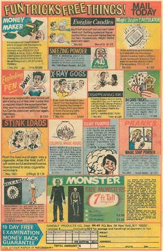 7 foot tall monster comic book ads from the 1970s