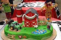 barn and tractor cake
