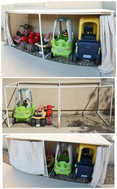 Needs to be a little taller for big kid bikes DIY Covered Kiddie Car Parking Garage ~ Outdoor Toy Organization