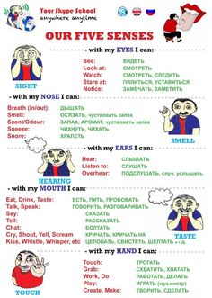 Five Senses Verbs - #taste #smell #see #touch #hear — #yourskypeschool #useful #materials