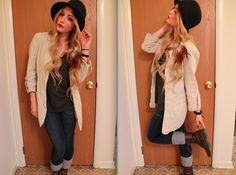 Aeropostle Jeans, Vans Hat, Target Shirt, H&M Boots, Wet Seal Blazer, By Samii Ryan Feather Earring