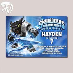 Dark Skylanders Snapshoot Water Birthday Party Card Digital Invitation Kid…