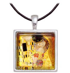 Klimt The Kiss Art Glass Necklace - $24.95 with Free U.S. Shipping at: http://www.artistgifts.com/art-gifts/van-gogh-necklace-almond-tree.html