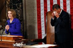 Incoming House Speaker John Boehner, right, cries as outgoing House Speaker Nancy Pelosi announces she is handing over power to him on the opening day of the 112th United States Congress on Capitol Hill in Washington, January 5, 2011. :) for my JAB friends.