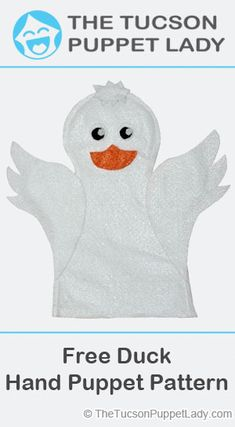 Free pattern download to make a felt duck hand puppet