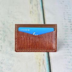 100% Hand Made Exotic Leather Card Wallet Card by RainyZleather