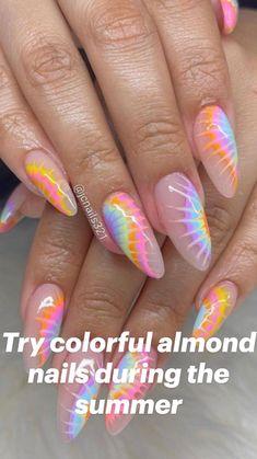 Funky Nail Designs, Nail Art Designs, Bling Nails, Swag Nails, Flame Nail Art, Palm Nails, Multicolored Nails, Almond Nails Designs, Funky Nails