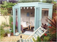 Beach style Waltons Corner Summerhouse created by our customer Kathryn #mydreamspace #sheshed #gardenretreat #ideas