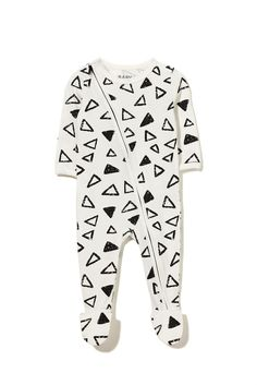 mini zip through romper, VANILLA/SKETCHY TRIANGLE