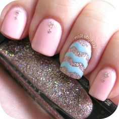 Pink, blue and silver glitter.