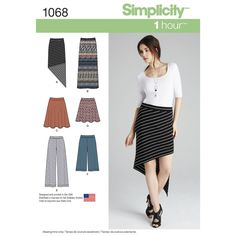 misses' knit skirts & pants with length variations. make any piece in just one hour for an easy everyday look. design features two skater skirts, wide leg pants or gaucho's, a long slim skirt or an a-symmetric skirt.