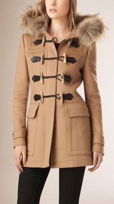 Montgomery in lana con finitura amovibile in pelliccia