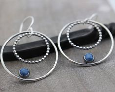 A personal favorite from my Etsy shop https://www.etsy.com/listing/582367881/denim-blue-lapis-sterling-silver-hoop #SterlingSilverShops