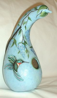Hummingbird with Wisteria Flowers Gourd by FromGramsHouse on Etsy, $23.00