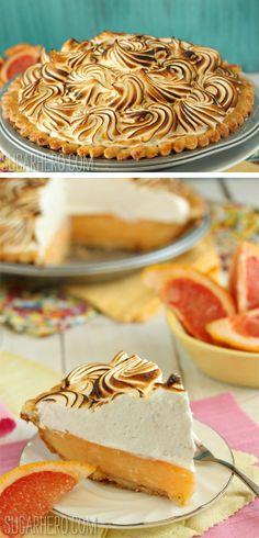 Grapefruit Meringue Pie - tart grapefruit filling with fluffy toasted meringue! | From SugarHero.com