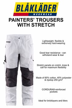 These Blåkläder Painter's Trousers are extremely hard-wearing yet lightweight and flexible. Made from lightweight ripstop they have good tear resistance and the ability to withstand wear and tear. These trousers also include stretch panels on the crotch, knee and calf to provide maximum flexibility. Blåkläder  Painter's trousers are ideal for brick layers, painters and tilers.