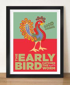 Mid century poster print, The EARLY BIRD, 11 x 17 (A3), colourful giclée print. $23.99, via Etsy.