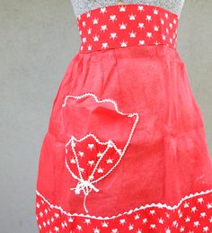 vintage red and white apron by BeSomethingNew on Etsy, $23.00