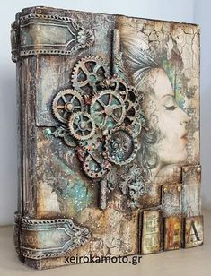 Steampunk Cards, Steampunk Airship, Media Mix, Mixed Media Art, Picture Frame Crafts, Tinker Toys, Mixed Media Techniques, Steampunk Design, Planner Book
