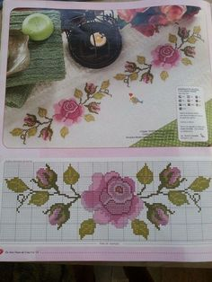 This Pin was discovered by Dor Cross Stitch Rose, Cross Stitch Borders, Cross Stitch Flowers, Cross Stitching, Cross Stitch Embroidery, Cross Stitch Patterns, Hobbies And Crafts, Diy And Crafts, Hand Embroidery Dress