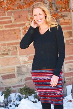 "Luna Sweater Skirt | 21"" Fitted Fairisle Skirt 