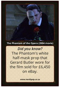 for his mask? I would've payed like 20 grand, built a shrine for the mask, and let nobody ever touch it except me. Music Theater, Broadway Theatre, Musicals Broadway, Opera Ghost, Music Of The Night, Love Never Dies, Gerard Butler, Phantom Of The Opera, Fun Facts