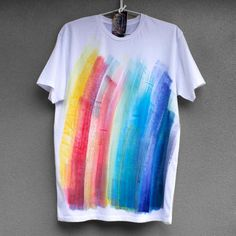 COLOUR STREAKS. 100 cotton T shirt. Hand painted. Unique by Smukie