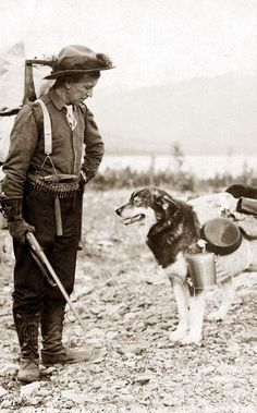 This is an intriguing picture of Prospector and dog ready for the summer trail.  It was taken in between ca. 1900 and ca. 1930.