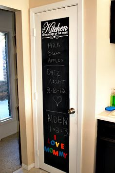 DIY Pantry Door Redo - so cute!! Love the decal too.