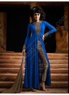 Синее платье / костюм, с длинными рукавами