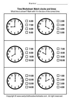 Matching Clocks and Time Worksheets - Worksheet #1