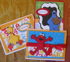 Sesame Street and Friends Cricut Cartridge birthday cards - These are great kids handmade cards!