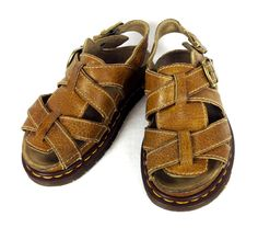 Dr Doc Martens Sandals 6 Womens Brown Leather Shoes England #DrMartens #SportSandals