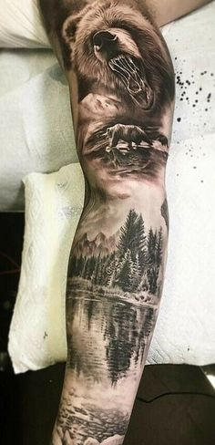 Both bear and wolf forest tattoos, forest tattoo sleeve, animal sleeve tattoo Forest Tattoo Sleeve, Animal Sleeve Tattoo, Nature Tattoo Sleeve, Forest Tattoos, Tattoo Nature, Mountain Sleeve Tattoo, Wolf Tattoos, Bear Tattoos, Body Art Tattoos