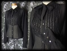 Gothic Black Sheer Polka Dot GOVERNESS Frill Pussy Bow Blouse 10 12 Victorian - £29.00