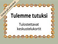 Tulemme tutuksi -kortit auttavat tutustumisessa ja tunnelman keventämisessä. Monivalintakorteillatutustuminen onnistuu, vaikka sanat olisivat hukassa.Korttisarja löytyy suomeksi ja ruotsiksi. Activity Games, Activities, Finnish Language, Kids Study, Les Sentiments, Early Childhood Education, Occupational Therapy, Social Skills, Special Education