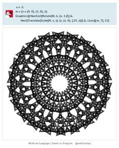 x = .5; m = {z = {0, 0}, {1, 0}, z}; Graphics@  NestList[Rotate[#, 6, {x, 1.2}] &,    Nest[Translate[Scale[#, x, z], {z, {x, 0}, {.25, x}}] &, Line@m, 7],    21]