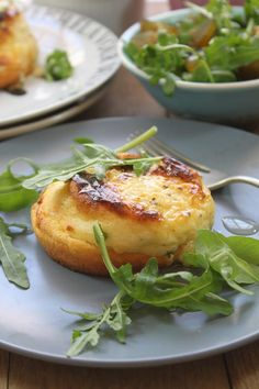 Twice-baked Gruyère Soufflés with the sweet flavours of fig and fresh, peppery flavours of rocket. Unique Recipes, Ethnic Recipes, Souffle Recipes, Walnut Salad, Paleo, Salad Bar, Gluten, Salad Ingredients, Recipes