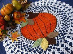 pumpkin crochet doily