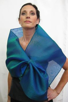This is a silk organza wrap with a loop closure for easy adjustment and may be worn as a wrap or scarf. Simple, elegant and dramatic, it creates different looks by pulling the piece through the loop. It measures 64 x 13 Ways To Wear A Scarf, How To Wear Scarves, Organza Flowers, Silk Organza, Special Dresses, Nice Dresses, Mother Of The Bride Dresses Long, Red Shawl, Ruffle Scarf